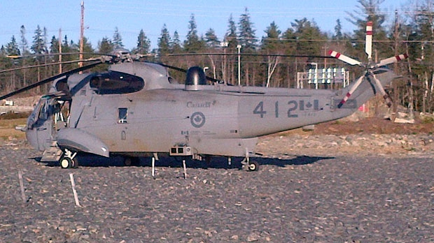Const. Pierre Bourdages says the chopper landed in a vacant gravel lot near a grocery store on Peakview Way off Larry Uteck Boulevard in the Halifax suburb of Bedford.