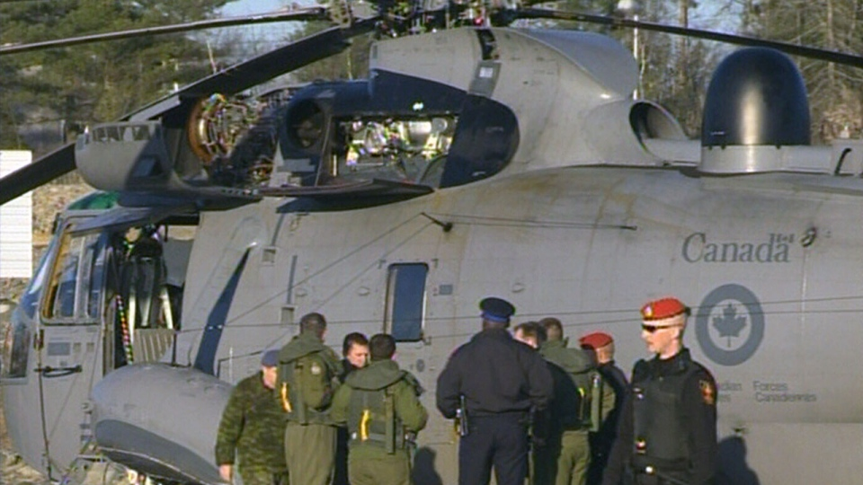 A Sea King helicopter was forced to make an emergency landing in Bedford, N.S., Thursday, Nov. 22, 2012.