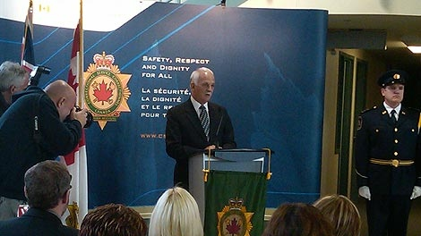 Vic Toews speaks at the announcement on Friday morning.