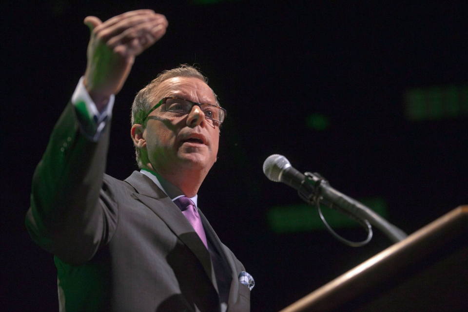 Premier Brad Wall addresses the Saskatchewan Chamber of Commerce and unveils the Saskatchewan Plan for Growth at Teachers Credit Union Center in Saskatoon, Sask., Tuesday, October 16, 2012. (Liam Richards / THE CANADIAN PRESS)