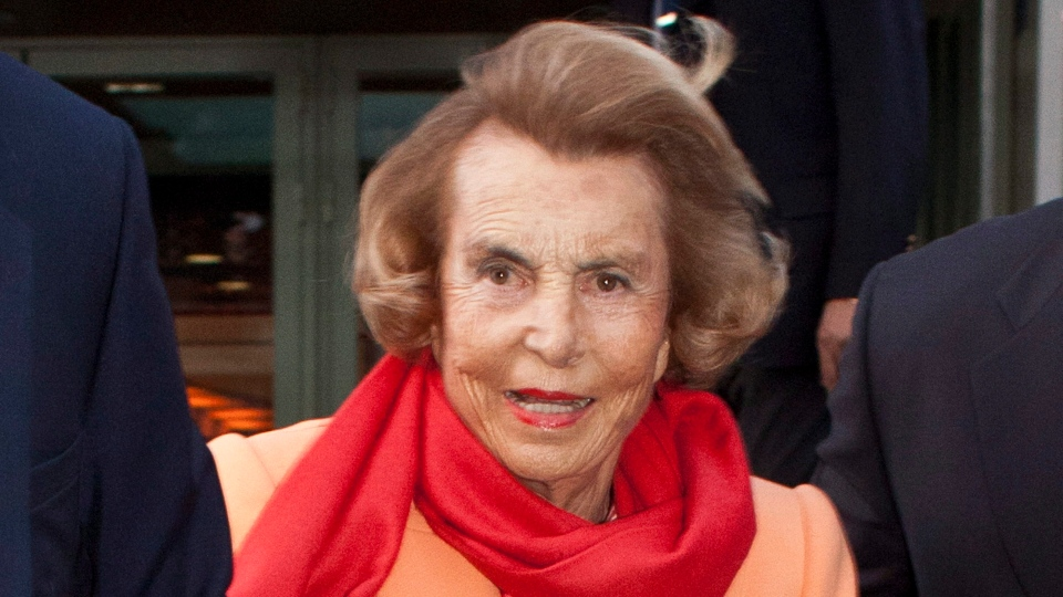L'Oreal heiress Liliane Bettencourt leaves the L'Oreal-UNESCO prize for the women in science, in Paris, Thursday, March 29, 2012. (AP / Thibault Camus)