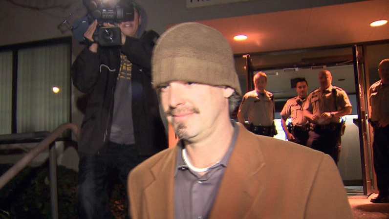 Robert Fawcett leaves a B.C. courthouse after being sentenced to three-years probation for culling 56 Whistler sled dogs in 2010. November 22, 2012. (CTV)