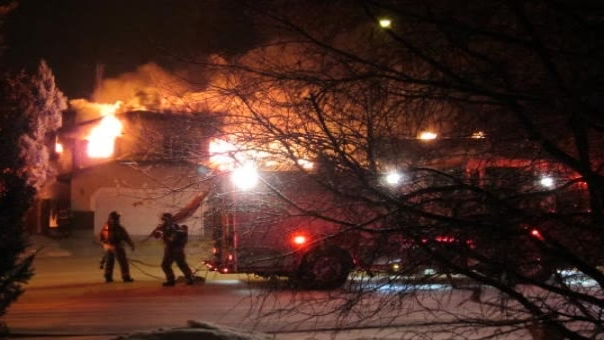 Firefighters were greeted by large flames when they arrived on scene early Thursday.