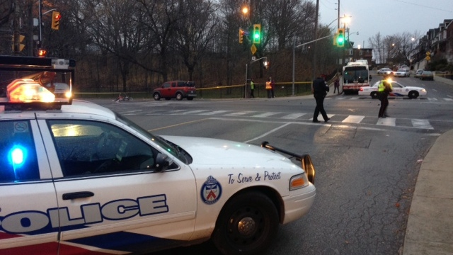 Toronto police respond to the scene of an accident at Davenport and Lansdowne after a cyclist was struck early Friday. (CTV Toronto)