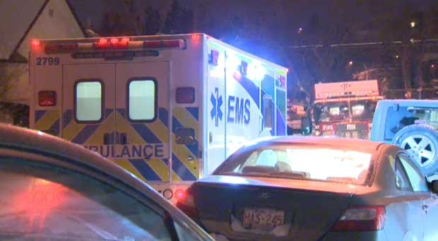 A man is in life threatening condition after he was stabbed inside a downtown apartment complex in Bankview.