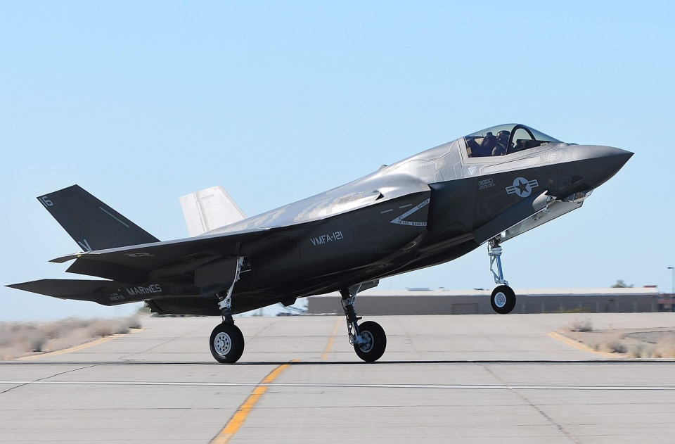 An F-35B Joint Strike Fighter touches down on the tarmac at the Marine Corps Air Station in Yuma, Ariz., Tuesday afternoon, Nov. 20, 2012. (Yuma Sun / Craig Fry)