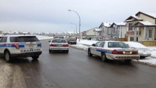 A street in Martindale is barricaded with police