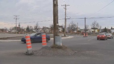 A hydro pole that has baffled Salaberry-de-Valleyf