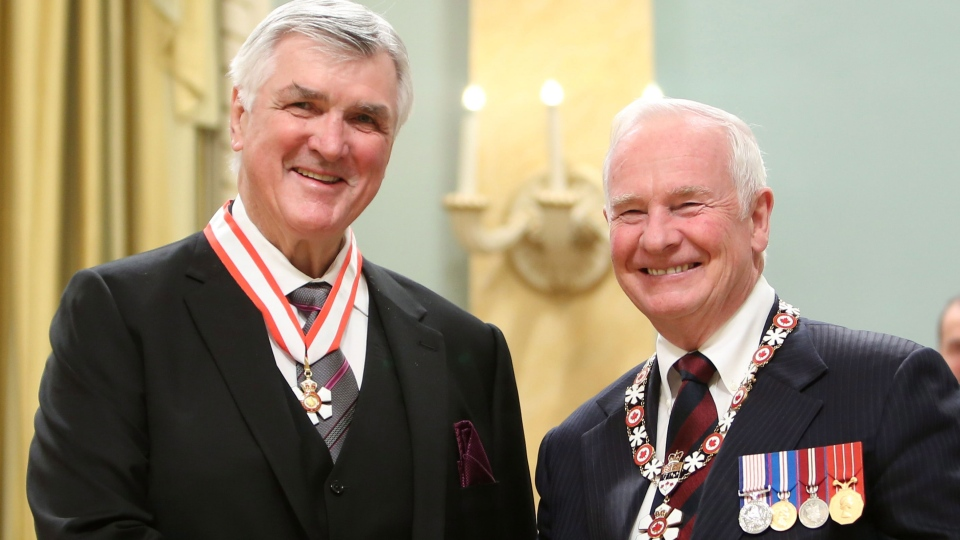 Pat Quinn hockey player, coach and manger is invested as Officer to the Order of Canada by Governor General David Johnston at Rideau Hall the official residence of the Governor General in Ottawa Friday November 23, 2012. (Fred Chartrand / THE CANADIAN PRESS)