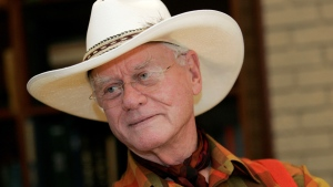 Actor Larry Hagman listens to a reporter's question while visiting the Southfork Ranch in Parker, Texas, made famous in the television show 'Dallas,' Thursday, Oct. 9, 2008. (AP / Tony Gutierrez)
