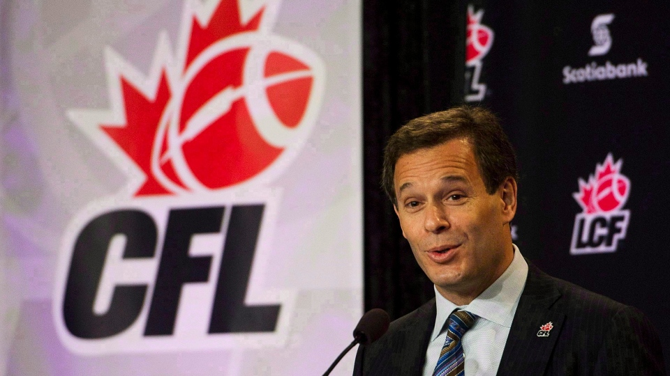 CFL Commissioner Mark Cohon speaks at the annual State of the League address during Grey Cup weekend in Vancouver B.C. on Friday, Nov. 25, 2011. (Nathan Denette / THE CANADIAN PRESS)