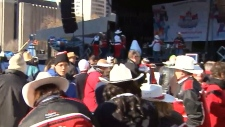 CFL fans gather at a Grey Cup pancake breakfast