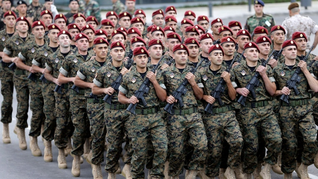 Lebanese soldiers parade on Nov. 22, 2012.