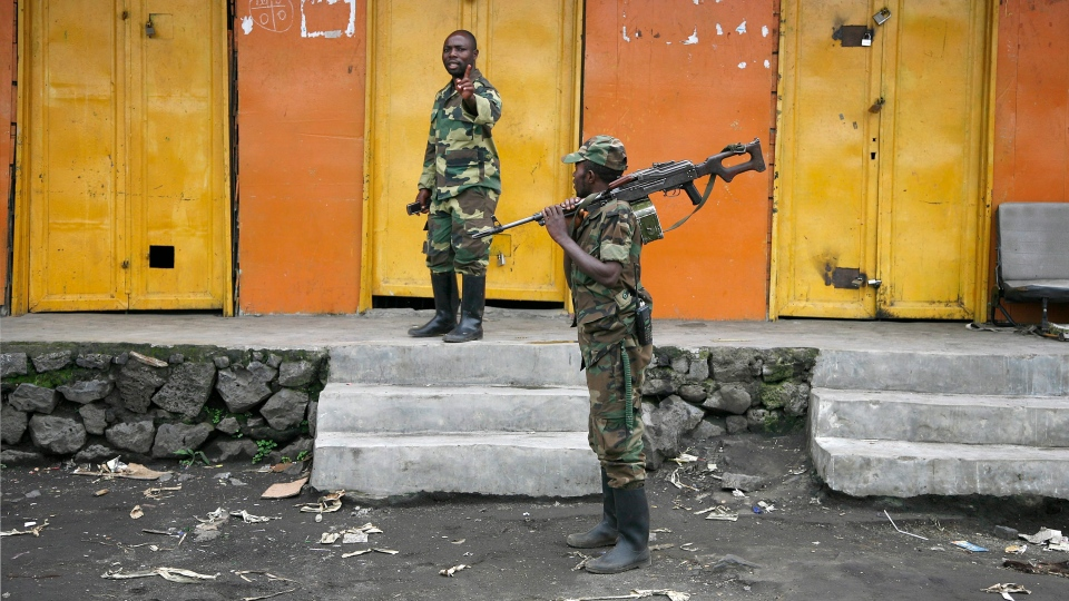 Congolese rebels man a toll station in the eastern Congolese town of Sake, 27 kilometres west of Goma, Friday, Nov. 23, 2012. (AP / Jerome Delay)