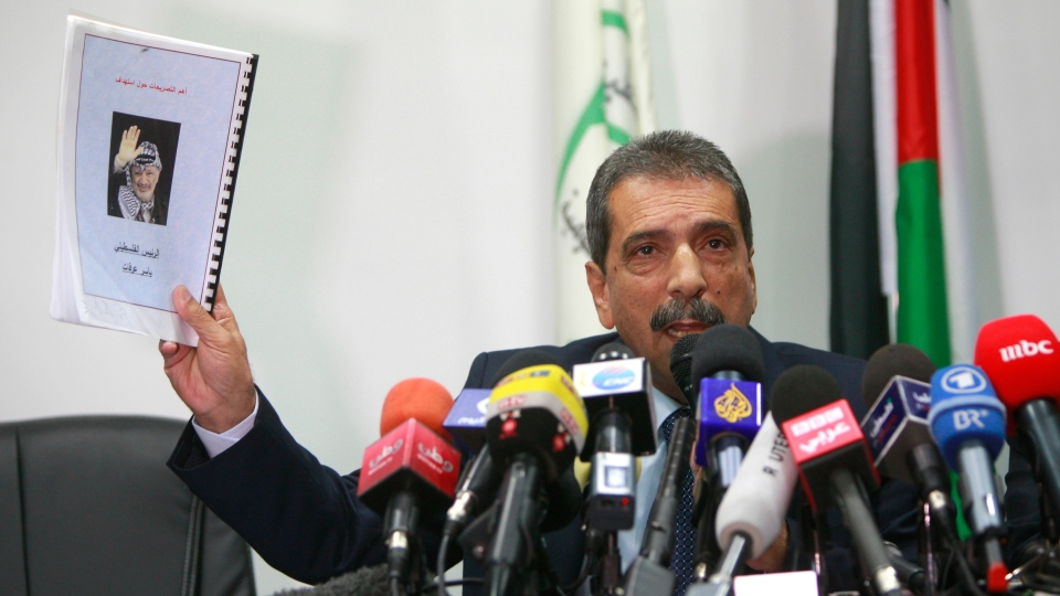 Tawfik Terawi, who heads the Palestinian team investigating Yasser Arafat's death, speaks during a press conference in the West Bank city of Ramallah, Saturday, Nov. 24, 2012. (AP / Majdi Mohammed)