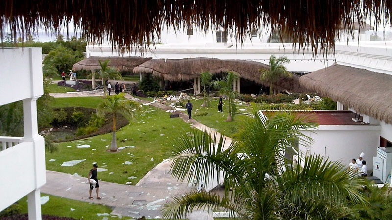 Damage is evident to a part of the Grand Princess Riviera Hotel in Playa del Carmen, Mexico, Sunday, Nov.14, 2010. (HO-Pete Travers/570 News / THE CANADIAN PRESS)