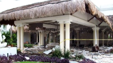Debris are seen scattered at the Grand Riviera Princess Hotel in Playa del Carmen, Quintana Roo state, Mexico, Sunday Nov. 14, 2010. (AP)