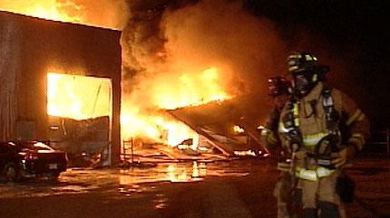 fire, auto shop, west end
