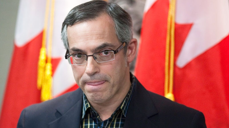 Federal Minister of Industry Tony Clement holds a press conference after issuing a statement about BHP Billiton and Potash Corp in Toronto on Sunday November 14, 2010. (Chris Young / THE CANADIAN PRESS)