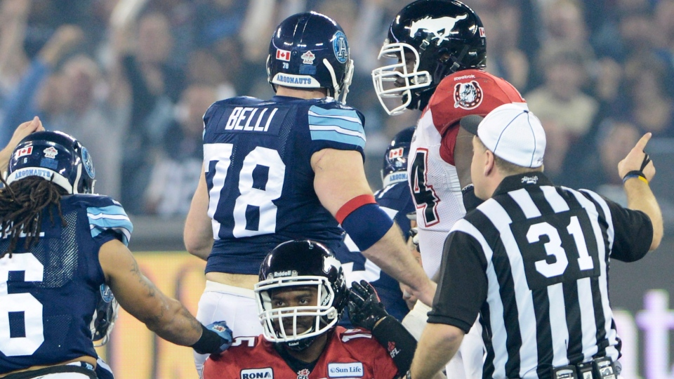 Calgary Stampeders quarterback Kevin Glenn reacts after a fumble during first quarter CFL Grey Cup action against the Toronto Argonauts in Toronto, Sunday, Nov. 25, 2012. (Ryan Remiorz / THE CANADIAN PRESS)