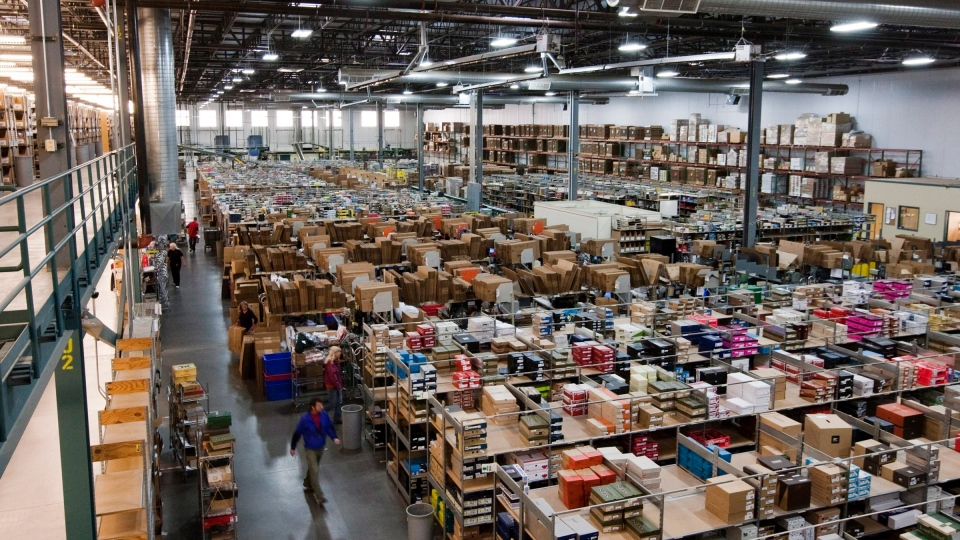 In this photo taken Tuesday afternoon, Nov. 13, 2012, the Sierra Trading Post Fulfillment Center sits stocked in preparation for Cyber Monday in Cheyenne, Wyo. (AP Photo/Star-Tribune, Kyle Grantham)