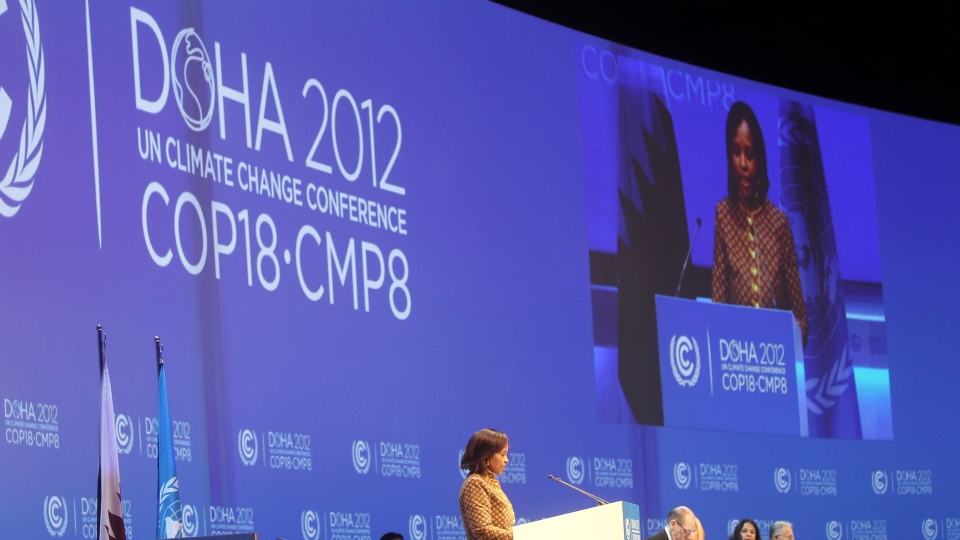 South African Foreign Minister and President of the 17th United Nations climate change conference, Maite Nkoana-Mashabane, speaks at the opening session of the conference in Doha, Monday, Nov. 26, 2012. (AP Photo/Osama Faisal)