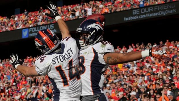 Denver Broncos celebrate Nov. 25, 2012.