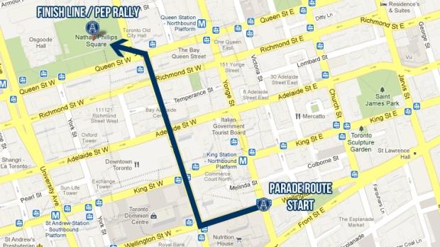 Toronto Argonauts Grey Cup Parade Route, 2012