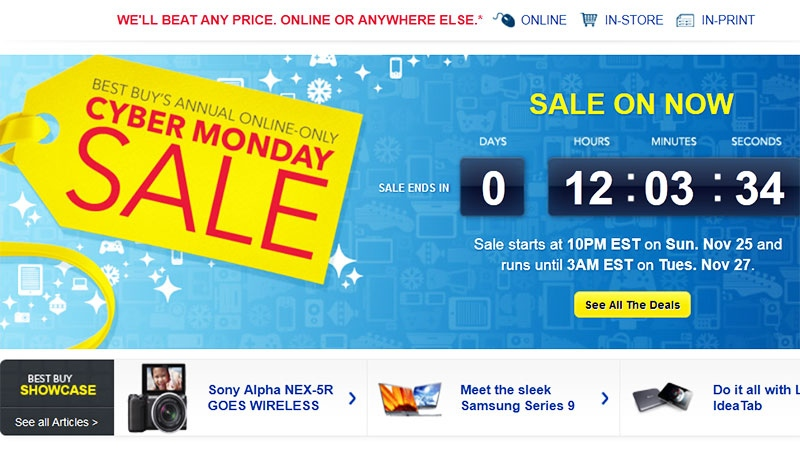 A Canadian website offers an online-exclusive 'Cyber Monday' deal on Monday, Nov. 26, 2012.