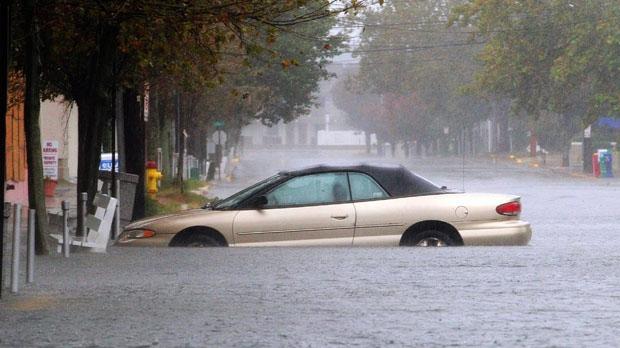 Flood-damaged car, Hurricane Sandy