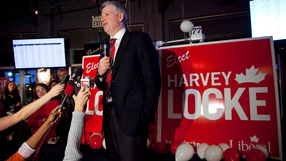 Calgary Centre Liberal candidate Harvey Locke speaks to supporters after watching election returns in Calgary on Monday, Nov. 26, 2012. (Jeff McIntosh / THE CANADIAN PRESS)