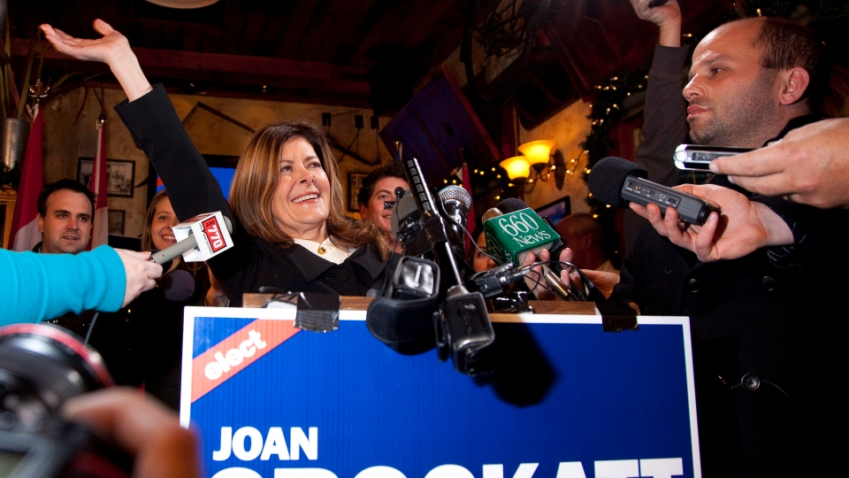 Calgary Centre Conservative candidate Joan Crockatt speaks to supporters following her win in Calgary on Monday, Nov. 26, 2012. (Jeff McIntosh / THE CANADIAN PRESS)