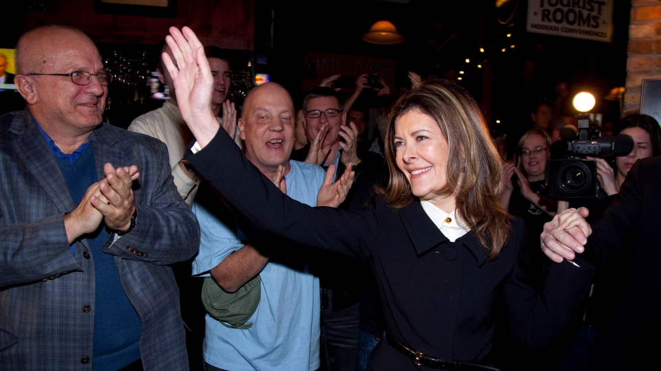 Calgary Centre Conservative candidate Joan Crockatt waves to supporters following her win in the riding's byelection on Nov. 26, 2012. (Jeff McIntosh / THE CANADIAN PRESS)