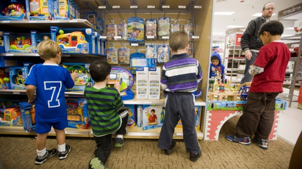 In this photograph taken by AP Images for Sears Holdings Corp., kids play with the toys and games on display during a Sears Toy Shops Grand Opening Event at the Fair Oaks Mall Sears in Fairfax, Va, on Saturday, Oct. 16, 2010. (Kevin Wolf/AP Images for Sears Holdings Corp.)