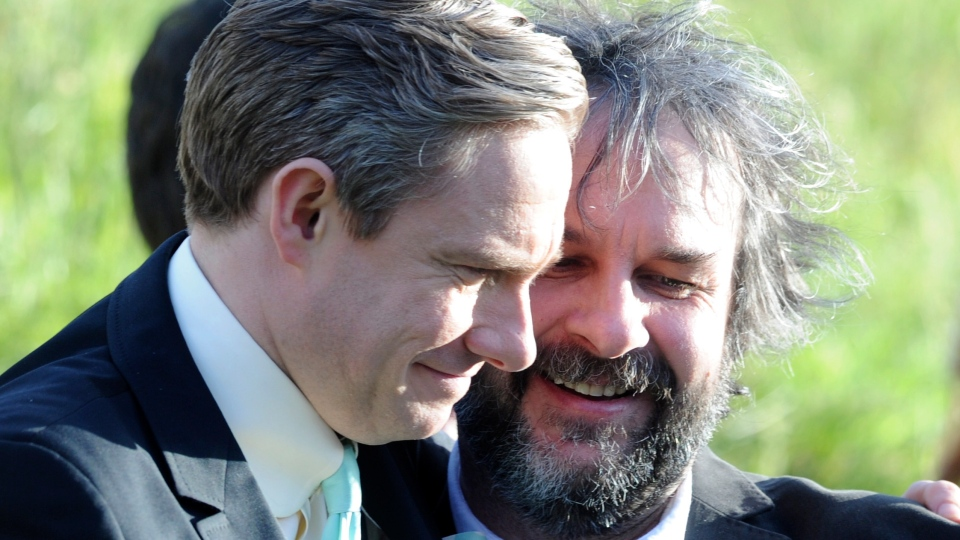 Cast member Martin Freeman, left, embraces director Peter Jackson at the premiere of 'The Hobbit: An Unexpected Journey,' at the Embassy Theatre, in Wellington, New Zealand, Wednesday, Nov. 28, 2012. (AP Photo/SNPA, Ross Setford)