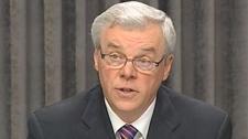 Premier Greg Selinger speaks with reporters regarding the throne speech on Nov. 16, 2010.