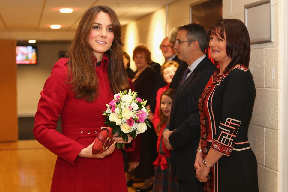 Duchess of Cambridge arrives for a reception for the Welsh Rugby Charitable Trust (WRCT) which supports injured rugby players ahead of the autumn international rugby match between Wales and New Zealand at the Millennium Stadium in Cardiff on Saturday, Nov. 24, 2012. (AP / Michael Steele)