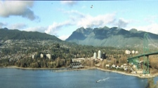 A gigapixel panorama shows a complete vista of West Vancouver from Ambleside Park, past the mouth of the Capilano River to Lion�s Gate Bridge. Nov. 17, 2010. (CTV)
