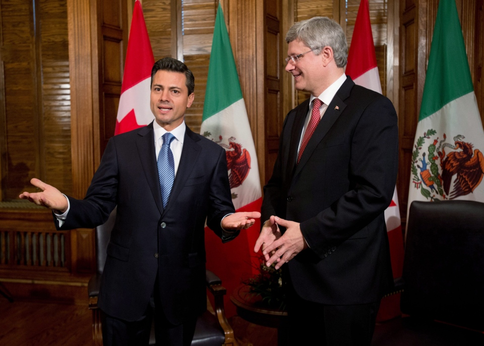 Prime Minister Stephen Harper meets with Mexican president-elect Enrique Pena Nieto on Parliament Hill in Ottawa on Wednesday Nov. 28, 2012. (Sean Kilpatrick/THE CANADIAN PRESS)