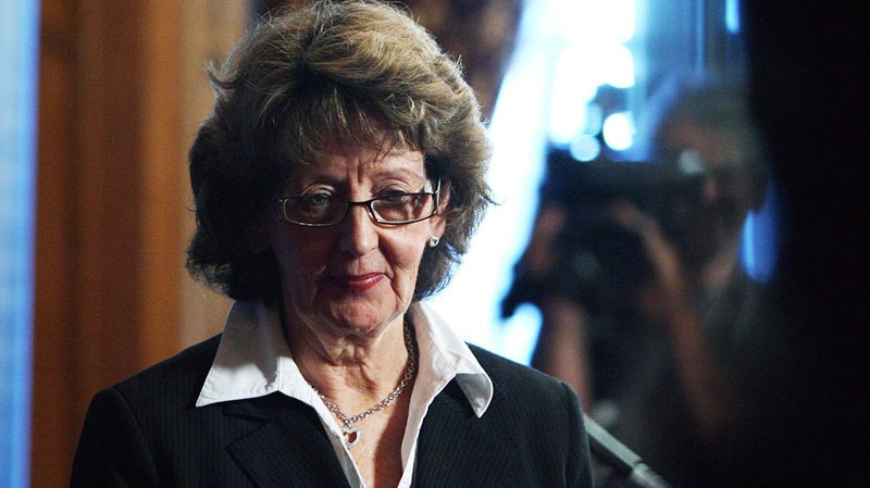 Marjory LeBreton, Leader of the Government in the Senate and Secretary of State for Seniors leaves a press conference on Parliament Hill in Ottawa on Tuesday Nov. 13, 2007. (Sean Kilpatrick / THE CANADIAN PRESS)