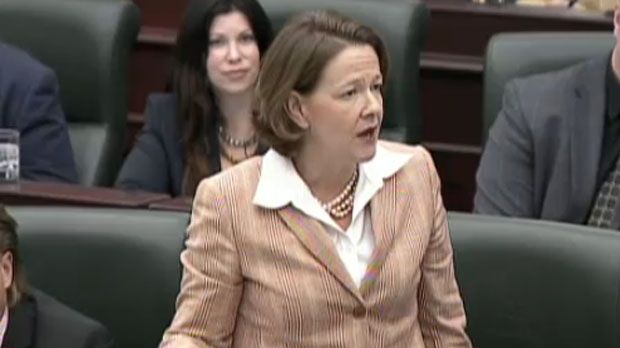 Premier Alison Redford responds to allegations of a conflict of interest in the legislature, on Wednesday, Nov. 28, 2012.