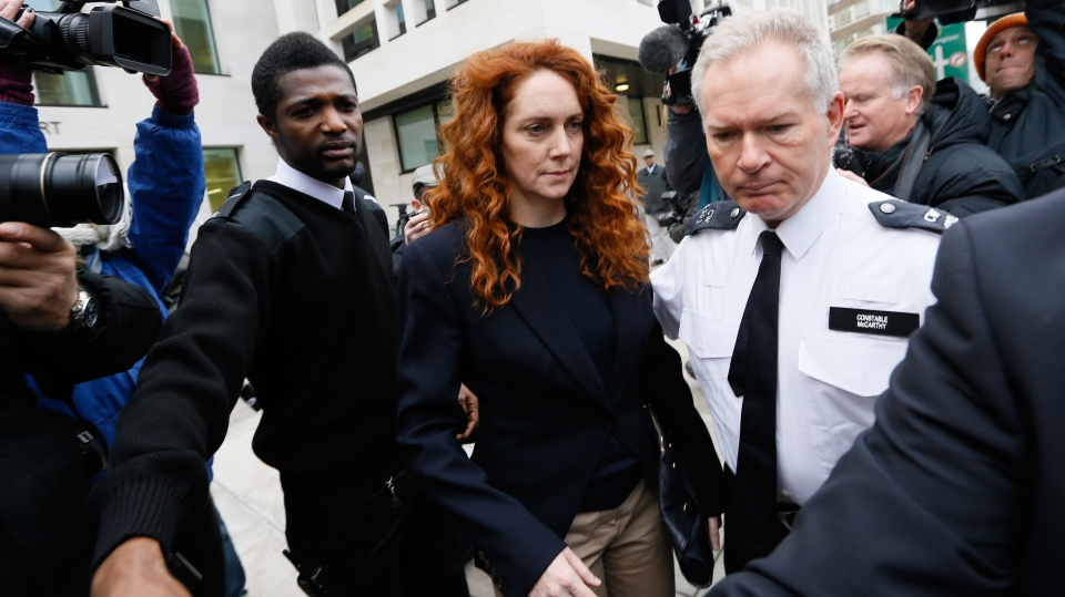 Rebekah Brooks, former News International chief executive leaves Westminster Magistrates Court in London, where she appeared to face charges linked to alleged bribery of public officials,Thursday, Nov. 29, 2012. (AP / Kirsty Wigglesworth)