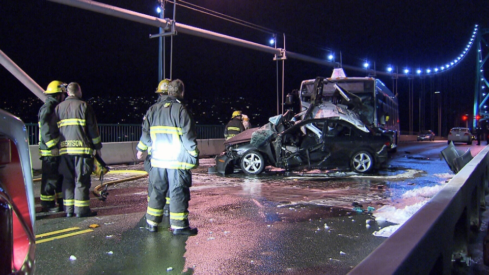 Two people are dead after a vehicle hit a bus on Lions Gate Bridge in West Vancouver on Nov. 28, 2012. (CTV)