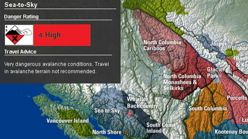 An avalanche warning has been issued for the Sea-to-Sky Corridor. Nov. 29, 2012. (Canadian Avalanche Centre)