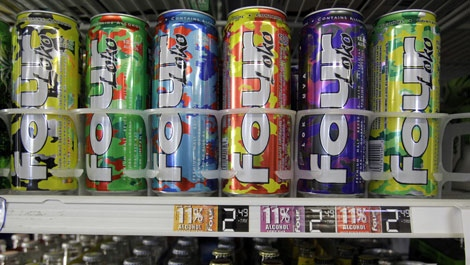 Cans of Four Loko are seen on display at a liquor store in Palo Alto, Calif., Monday, Oct. 18, 2010. (AP Photo/Paul Sakuma)