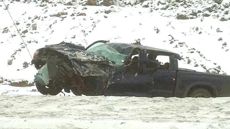 The mangled remains of a truck could be seen following a fatal crash on Anthony Henday Drive near Wye Road on Thursday, November 29.