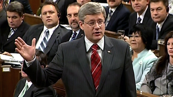 Prime Minister Stephen Harper responds to a question during question period in the House of Commons in Ottawa, Wednesday, Nov. 17, 2010.