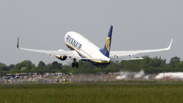In this May 10, 2009 file picture, an aircraft by Ryanair takes off at the airport in Bremen, northern Germany. (AP Photo/Joerg Sarbach, file)