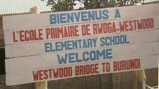 The welcoming sign to the school in Burundi built by Canadian students.