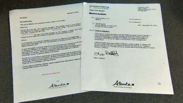 The documents show Redford was Justice Minister when she endorsed her ex-husband's firm.